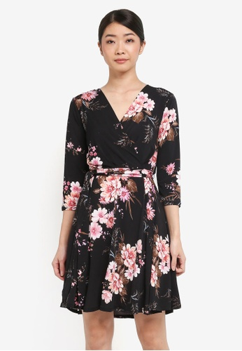 Wallis black Petite Black Floral Print Fit And Flare Dress 76B65AA7AEBAE1GS_1