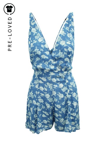 Reformation blue Pre-Loved reformation V-neck Mini Blue Print Playsuit F7261AA6E408F1GS_1