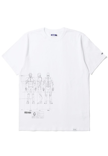 BLOCKAIT white X Marvel Iron Man graphic tee 6B95EAAA55DE7EGS_1
