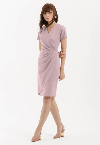 Cloth Inc pink Pleated Overlap Scuba Dress in Dusty Rose A3261AA50B2945GS_1
