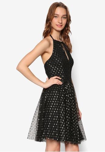 Miss Selfridge black and gold Gold Spot Mesh Prom Dress MI665AA97PGOMY_1