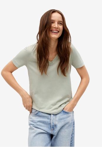 Mango green V-Neck Cotton T-Shirt 74AF2AA7173D22GS_1