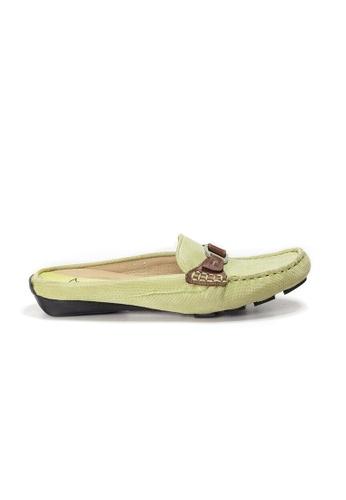 Shu Talk 綠色 AMAZTEP 雙色真皮舒服樂福鞋 (適合腳型偏窄) 225FASH647747FGS_1