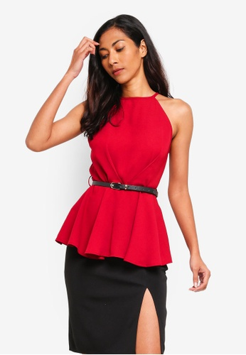 ZALORA BASICS red Basic Halter Neck Peplum Top 430A2AA1F40C7DGS_1