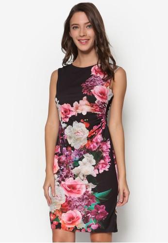 Petite 花卉印花抓皺洋裝, esprit outlet 台中服飾, 洋裝
