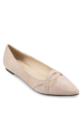 交叉帶尖頭德比平底鞋, 女鞋, 芭蕾平底esprit hk store鞋