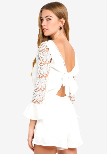 Eyescream white Low V Back Lace Sleeves Playsuit 59094AAE50514CGS_1