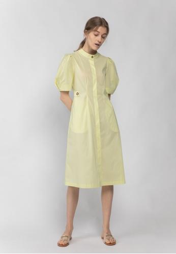 TAV yellow and beige [Korean Designer Brand] Cotton Puffy Sleeve Button-Down Dress - Yellow 07382AACACC0FDGS_1