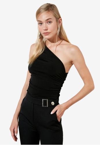 Trendyol black Ruched One Shoulder Top E7AE0AAEBD16EFGS_1