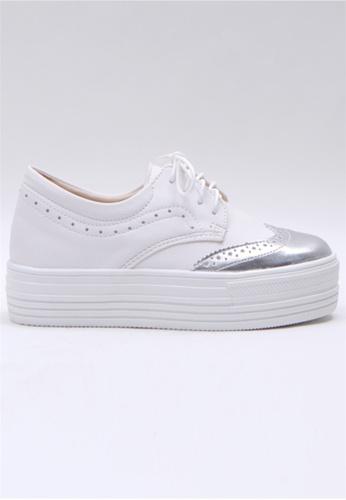 Crystal Korea Fashion 銀色 韓國制百搭厚底舒適休閒鞋 E6B05SHA168391GS_1