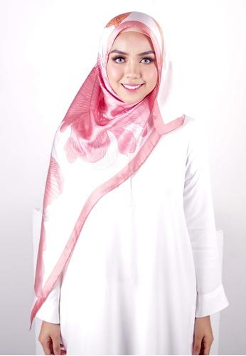 FATIMÉ white and pink and orange Satin Square Hijab Bloom (Salmon) 48440AA8F99708GS_1