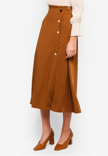 bYSI brown Side Button Detail Skirt B68F1AA1A402FAGS_1