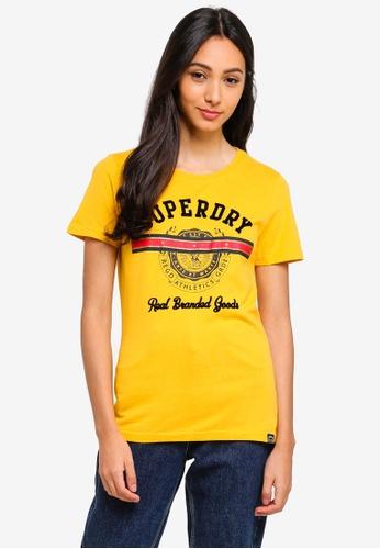 Superdry 黃色 絲絨印花T恤 F8B3AAAEF53728GS_1