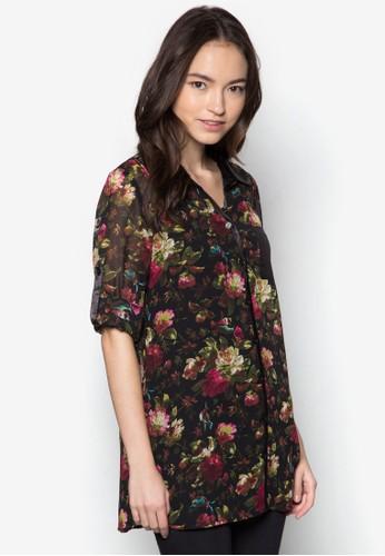 印花長袖esprit專櫃襯衫, 服飾, 上衣