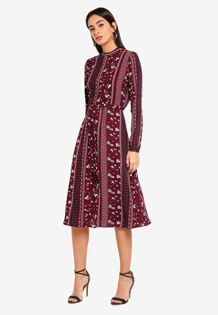 Dress Vero Ally Print Calf Winetasting Moda Ally fwERvq5
