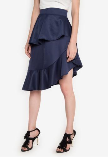 Ashley Collection blue Amara Asymmetric Ruffle Skirt AS637AA0JTMUPH_1