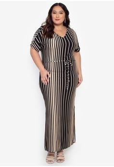 4c0c2bc050c46 Curvy black Plus Size Drawstring Maxi Dress 62FEBAA779C893GS_1