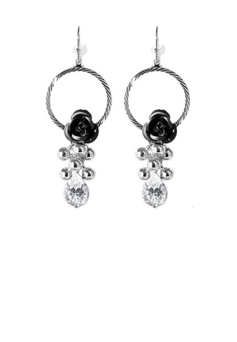 Glamorousky silver Elegant Black Rose Earrings with Crystals Glass 11A51ACEB7E16FGS_1