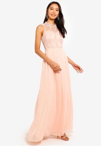 Mela London pink Contrast Lace Maxi Dress 59CF3AA7277140GS_1