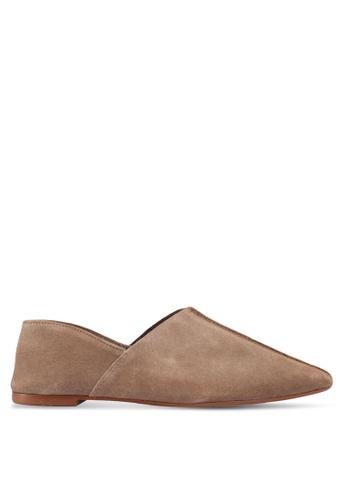 Mango beige Leather Flat Shoes E2FE7SHD3F1A4BGS_1