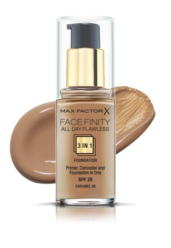 Max Factor beige Max Factor Face Finity All Day Flawless 3 In 1 SPF 20 Foundation, 30ml, 85 Caramel CA482BEB6D6F64GS_1