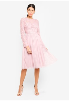 1e56a70d49a7 Little Mistress pink Pink Embroidered Midi Dress 2985FAA9C65D2FGS 1