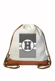 Drawstring Bag Monochrome Sporty Initial H