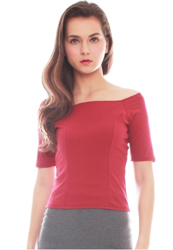JOVET red Off Shoulder Top E991AAA3198656GS_1