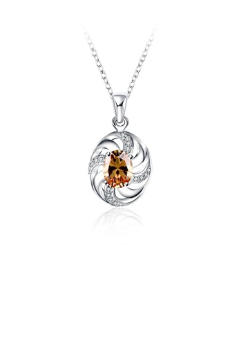 Glamorousky white Fashion Elegant Geometric Oval Pendant with Champagne Cubic Zircon and Necklace 9E909AC103951AGS_1