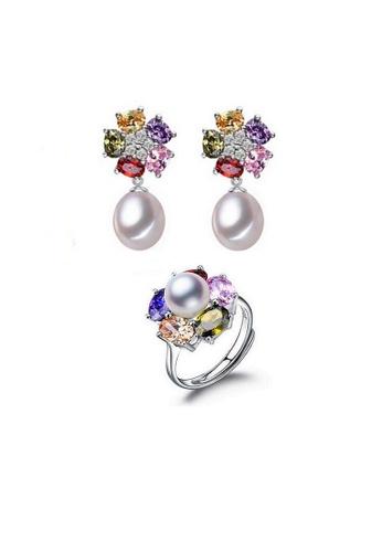 ADORA multi Silver Multicolor Zircon Pearl Set 269F9AC986C6E4GS_1