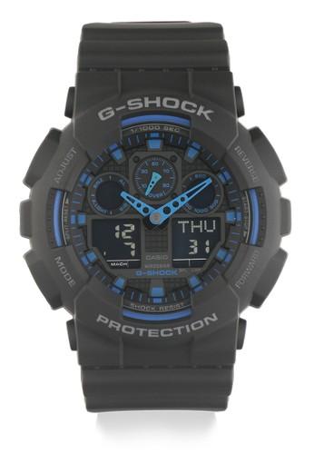 G-Shock black and blue G-Shock Men GA-100-1A2DR Black Blue 120D6AC43BD59CGS_1