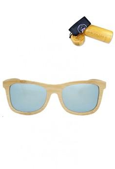 Natural Bamboo Frame, Silver Revo Lens, 140mm Wooden Sunglasses