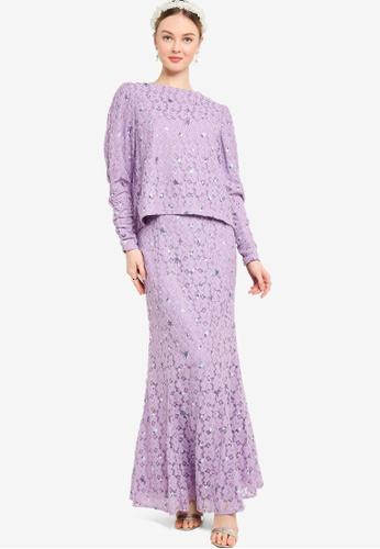 Lubna purple Puff Sleeve Lace Kurung 9DA95AA9B0D480GS_1