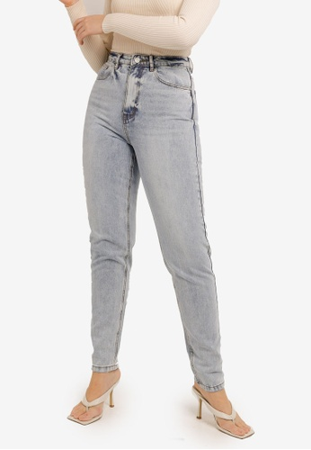 MISSGUIDED blue Tall Riot High Waisted Mom Jeans 27A8DAA9959C1AGS_1