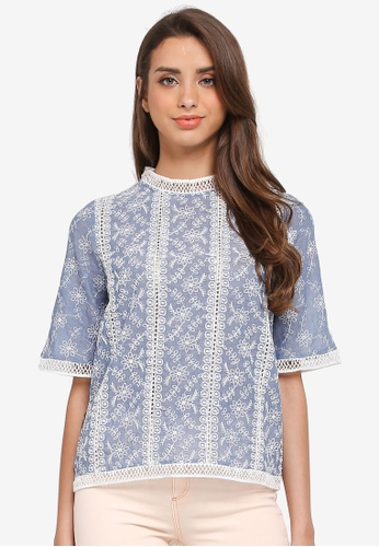 River Island blue Floral Embroidered Lace Trim Top 0B82AAABECA7FFGS_1