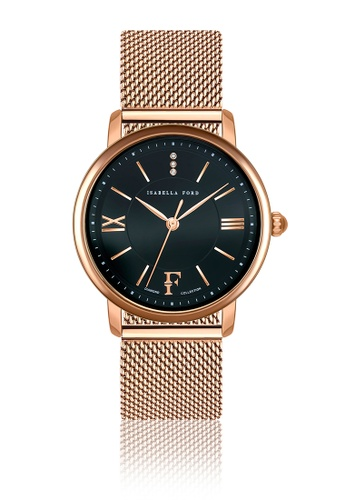 Isabella Ford black Isabella Ford Aurora Rose Gold Mesh Women Watch 407D3AC3CAAC8AGS_1