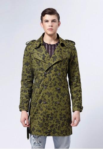 Life8 xesprit 京站 Daniel Wong。圖騰經典風衣外套-03673-軍綠色, 服飾, 外套