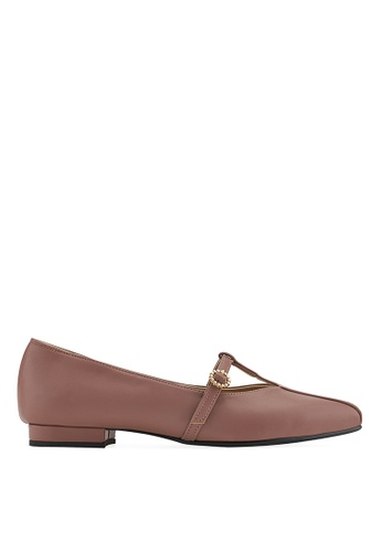 SPUR pink T STRAP MARYJANES FLATS 318C1SHED91D61GS_1