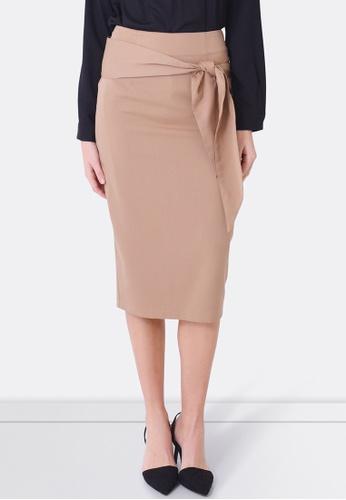 FORCAST brown and beige Bianca Tie Waist Skirt FO347AA0F7GGSG_1