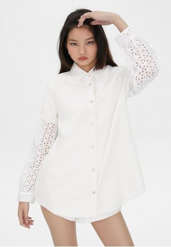 Pomelo white Sustainable Eyelet Oversized Denim Shirt - White 8E099AA2209A97GS_1