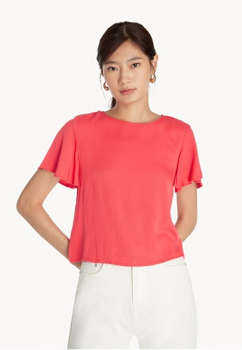 Pomelo red Flounce Sleeve T-Shirt - Red A539EAAFD290B3GS_1