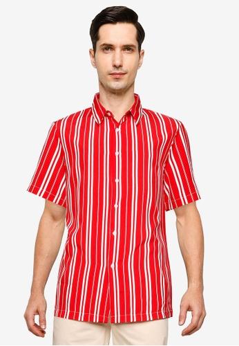 ZALORA BASICS red Stripe Button Front Short Sleeve Shirt 219B9AA8A93D36GS_1