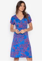 DEBENHAMS blue The Collection - Col Floral Mock Tie Wrap Dress DD097AA261A304GS_1