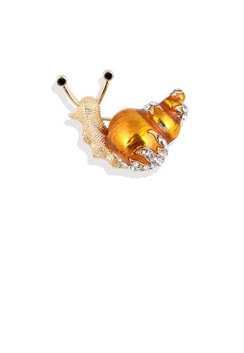 Glamorousky white Fashion and Lovely Plated Gold Snail Brooch with Cubic Zirconia E5B5AAC11282A8GS_1