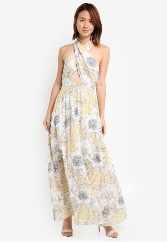 ZALORA yellow Cross Over Maxi Dress 6A92BAAE00C7E9GS_1