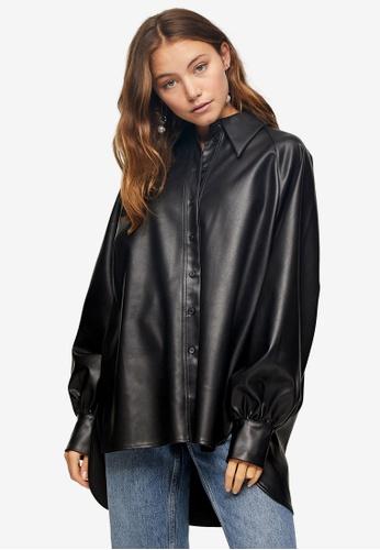 TOPSHOP black Black PU Oversized Shirt 3A30DAA43FC50AGS_1