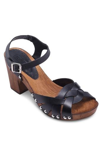 NINA 編織帶高跟zalora 包包評價涼鞋, 女鞋, 中跟