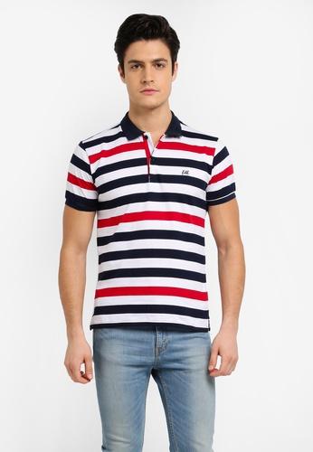 Fidelio white and navy Basic Stripes Embroidery Polo Shirt DFEBEAA552D007GS_1