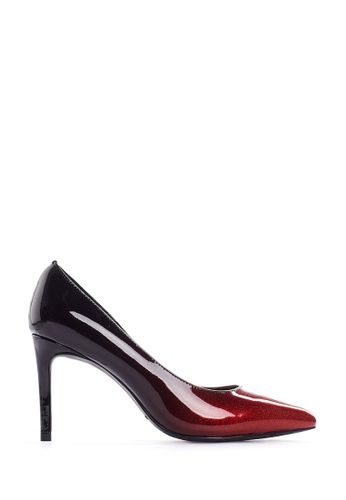 PAZZION black and red Glossy Ombre Stilettos AD97BSHFBD1CB4GS_1