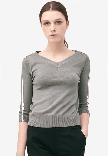 Kodz grey Striped Sleeves V-Neck Top 5D348AAB83B836GS_1